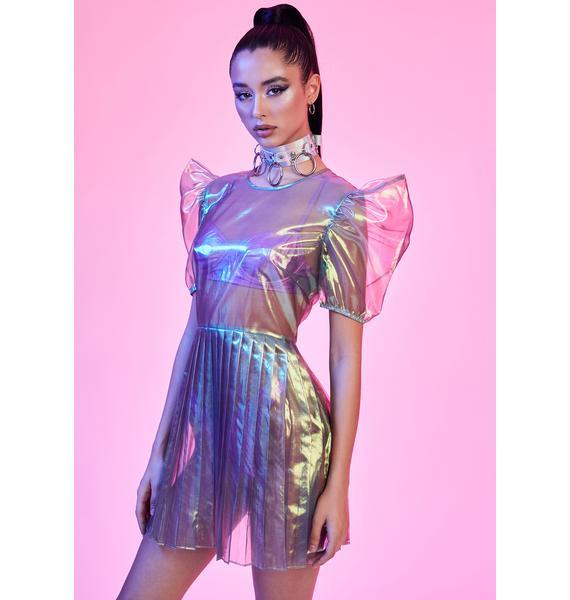 Current Mood Freaky Fairy Iridescent Mini Dress