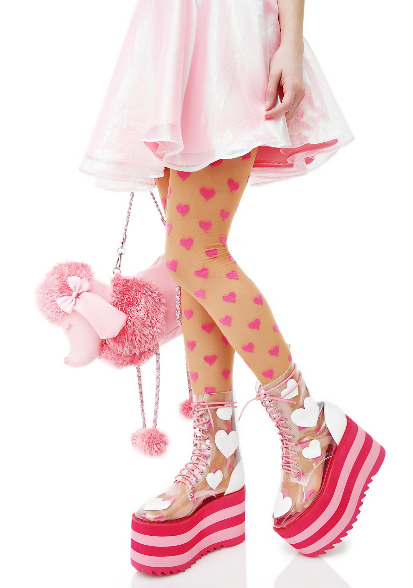 8fb72f611a97b Sheer Pink Printed Heart Tights   Dolls Kill