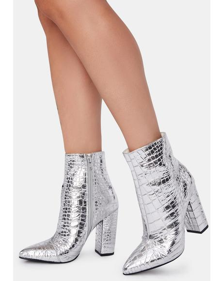 Silver Lisbeth Heeled Booties