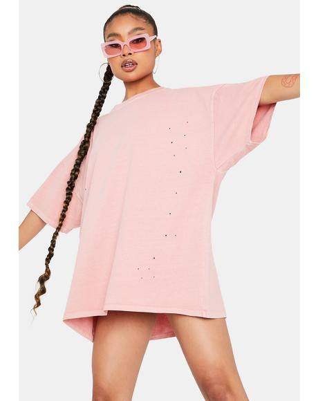 Bb Crush Is Love Distressed Oversized Tee