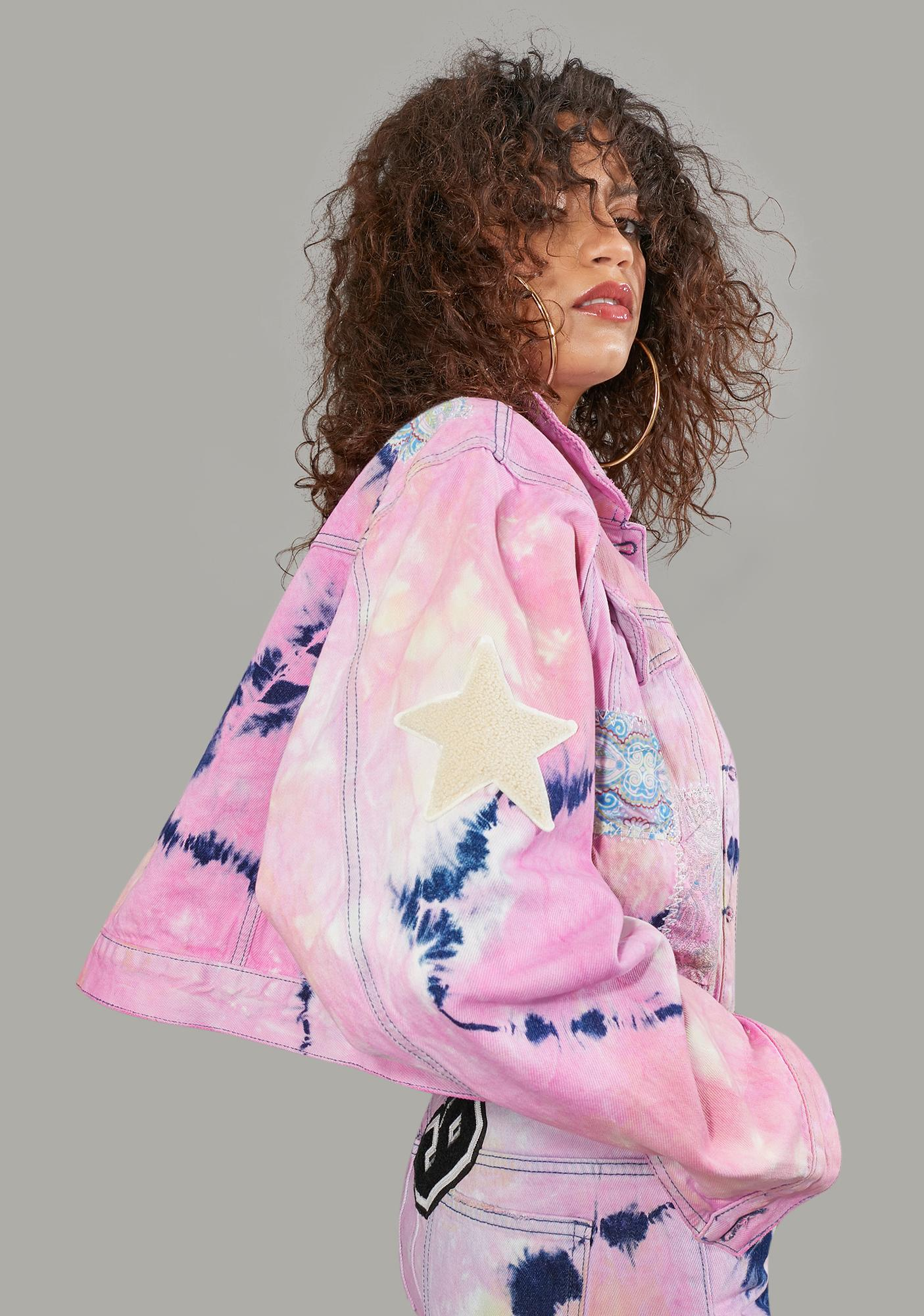 Poster Grl Twisted Rhythm Patched Tie Dye Jacket