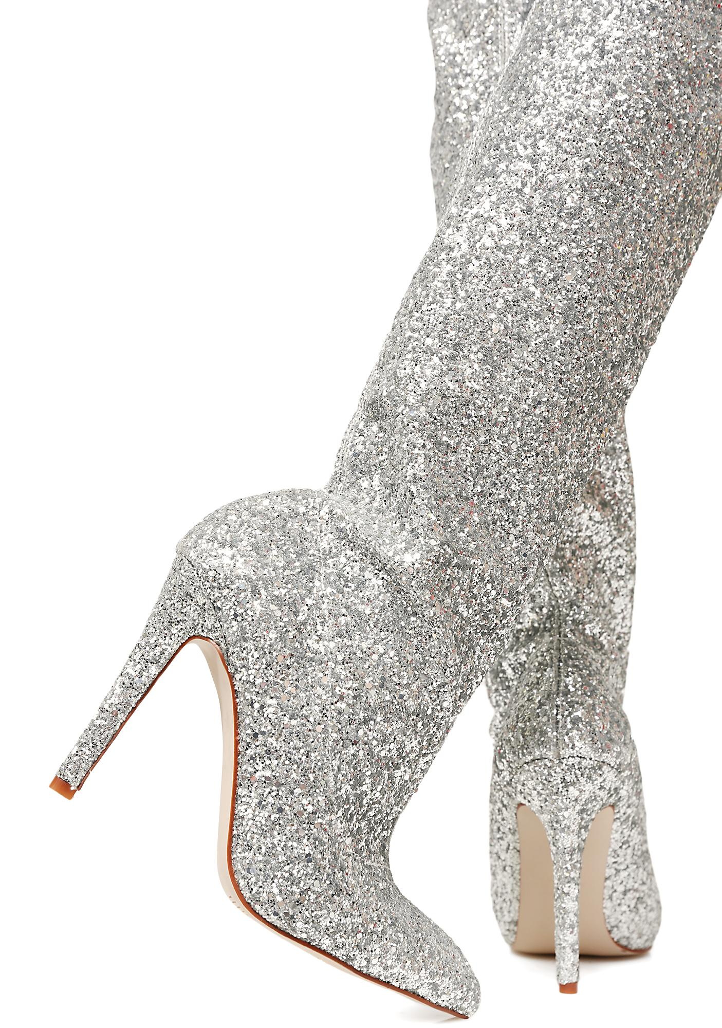Glitz N' Glamour Glitter Thigh-High Boots