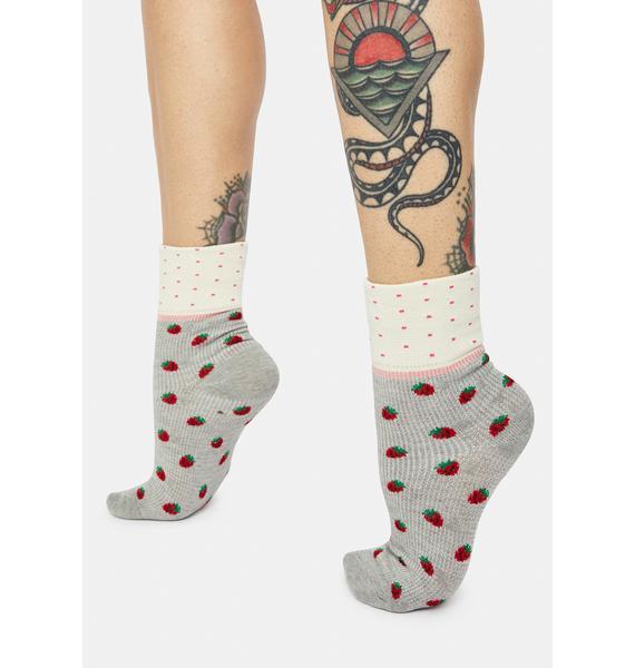 Misty Strawberries N Cream Socks