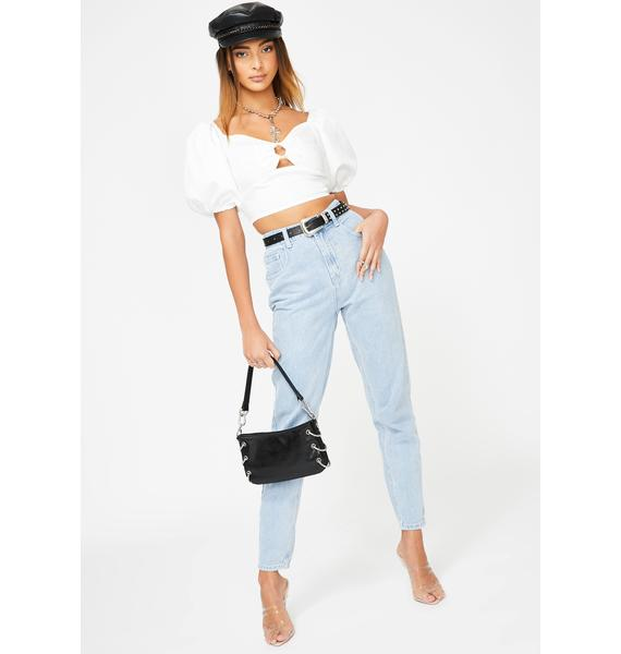 ZEMETA White O-Ring Cropped Blouse
