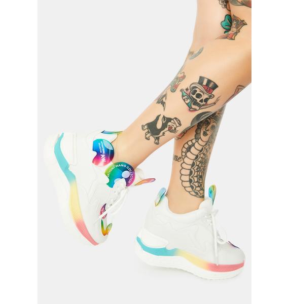Anthony Wang White Raisin 2 Chunky Wedge Sneakers
