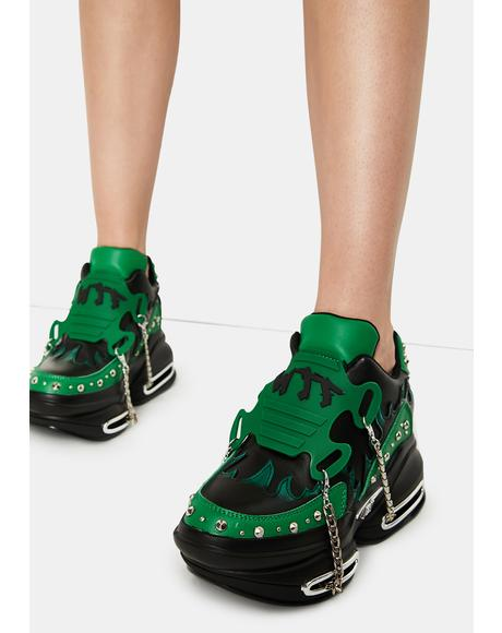 Emerald Big Rush Chain Platform Sneakers