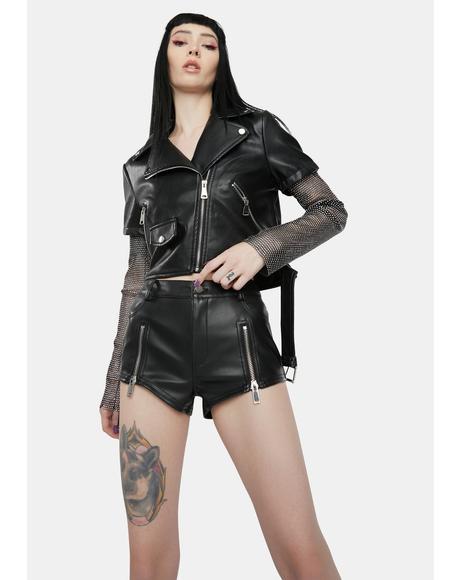 Acerola Rhinestone Sleeve Moto Jacket