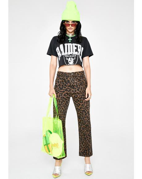 Leopard Skinny Denim Jeans