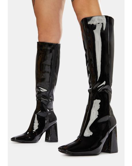 Black Apology Patent Knee High Boots