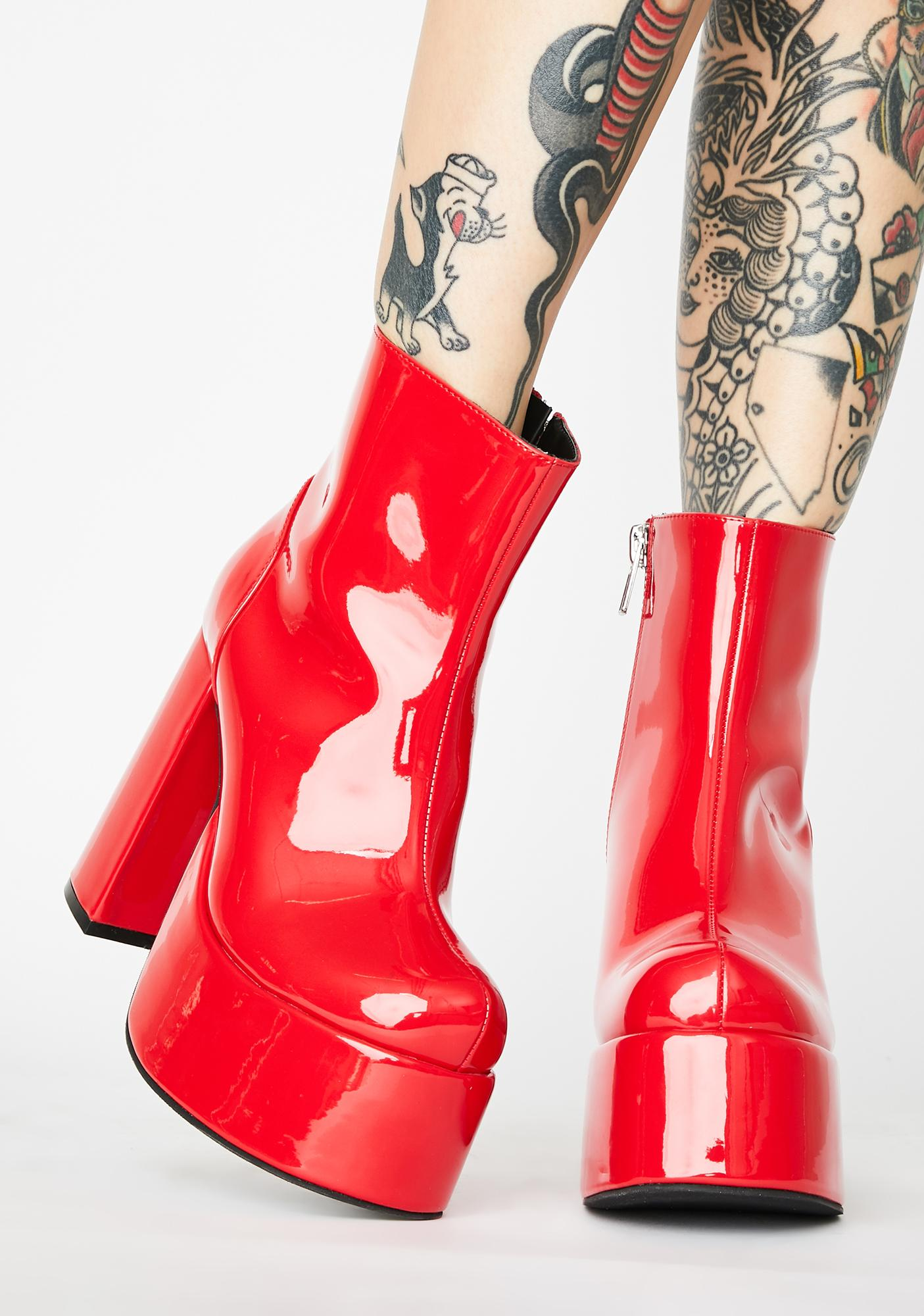 Current Mood Cherry Groovy Delight Platform Boots