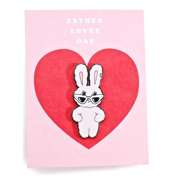 Lazy Oaf Esther Loves You Enamel Pin Badge