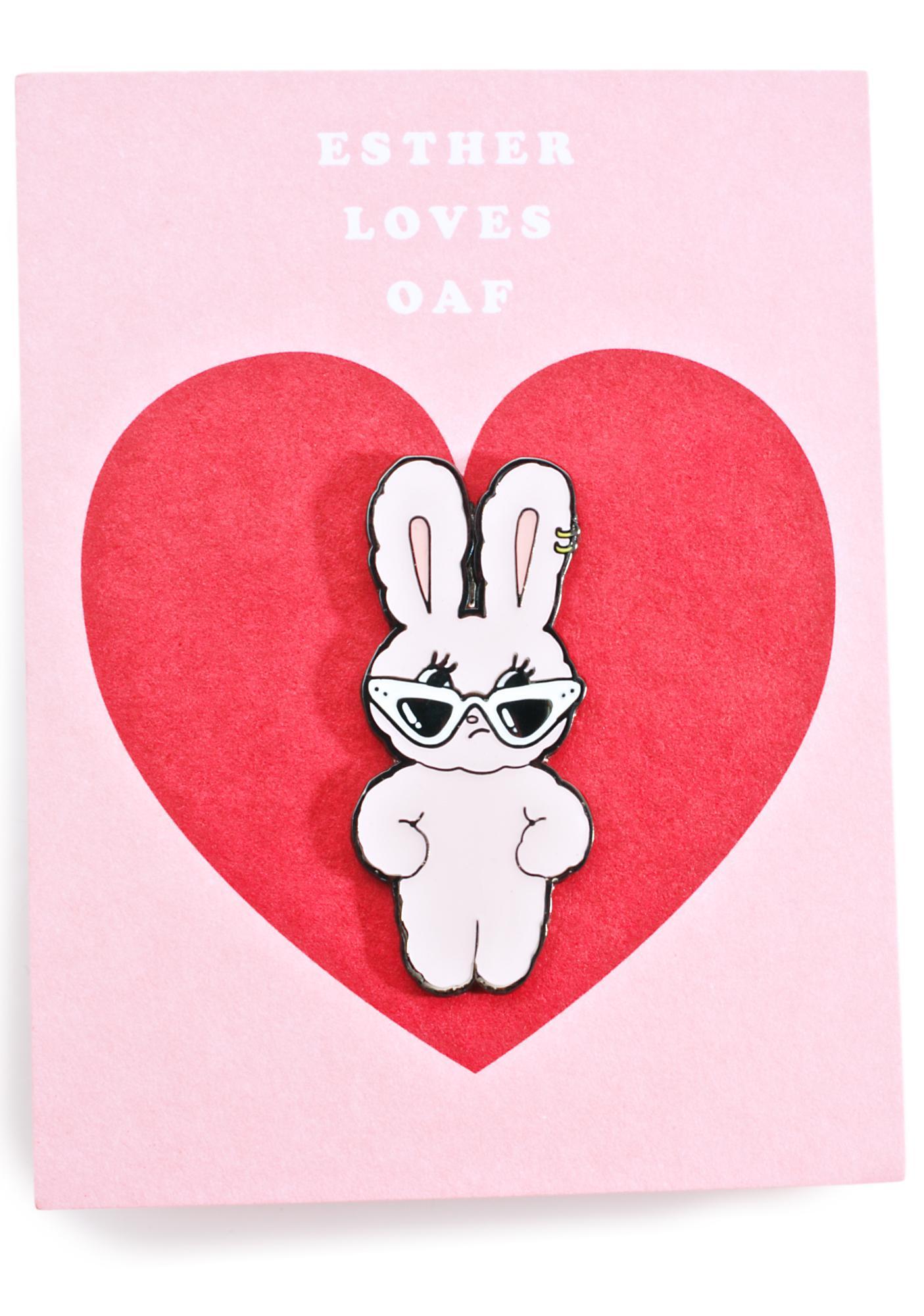 Lazy Oaf Esther Loves You Enamel Pin Badge