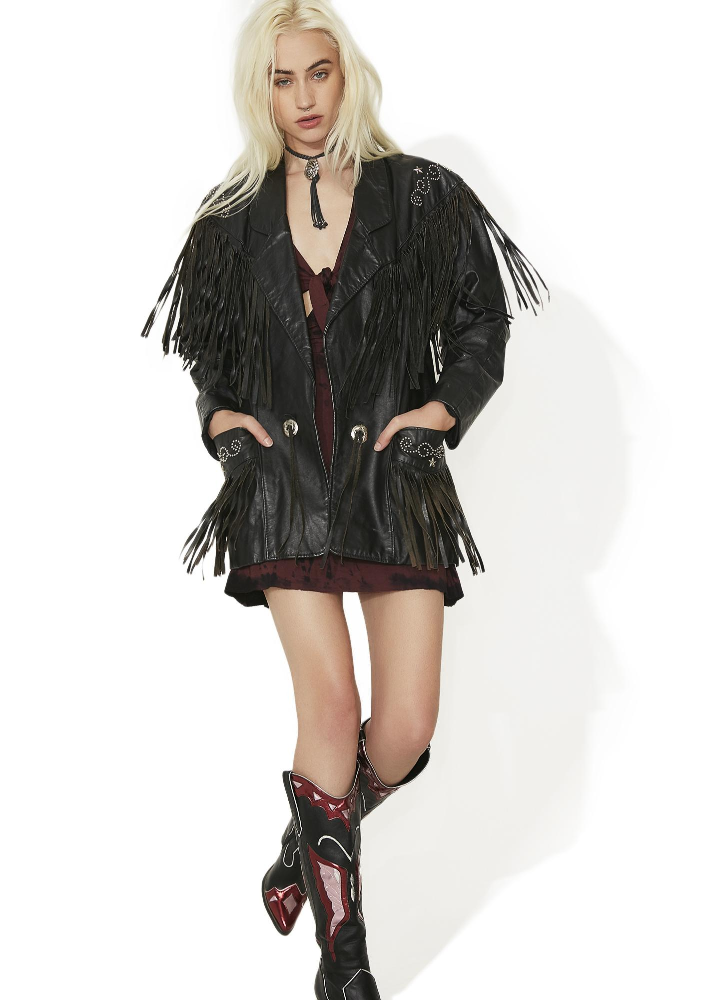 Vintage Leather Fringe Studded Jacket