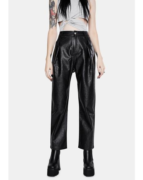Snap Vegan Leather Pants