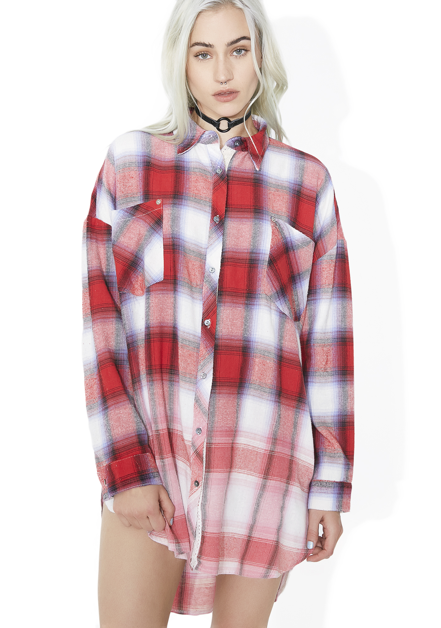 Red Longline Ombre Oversized Flannel