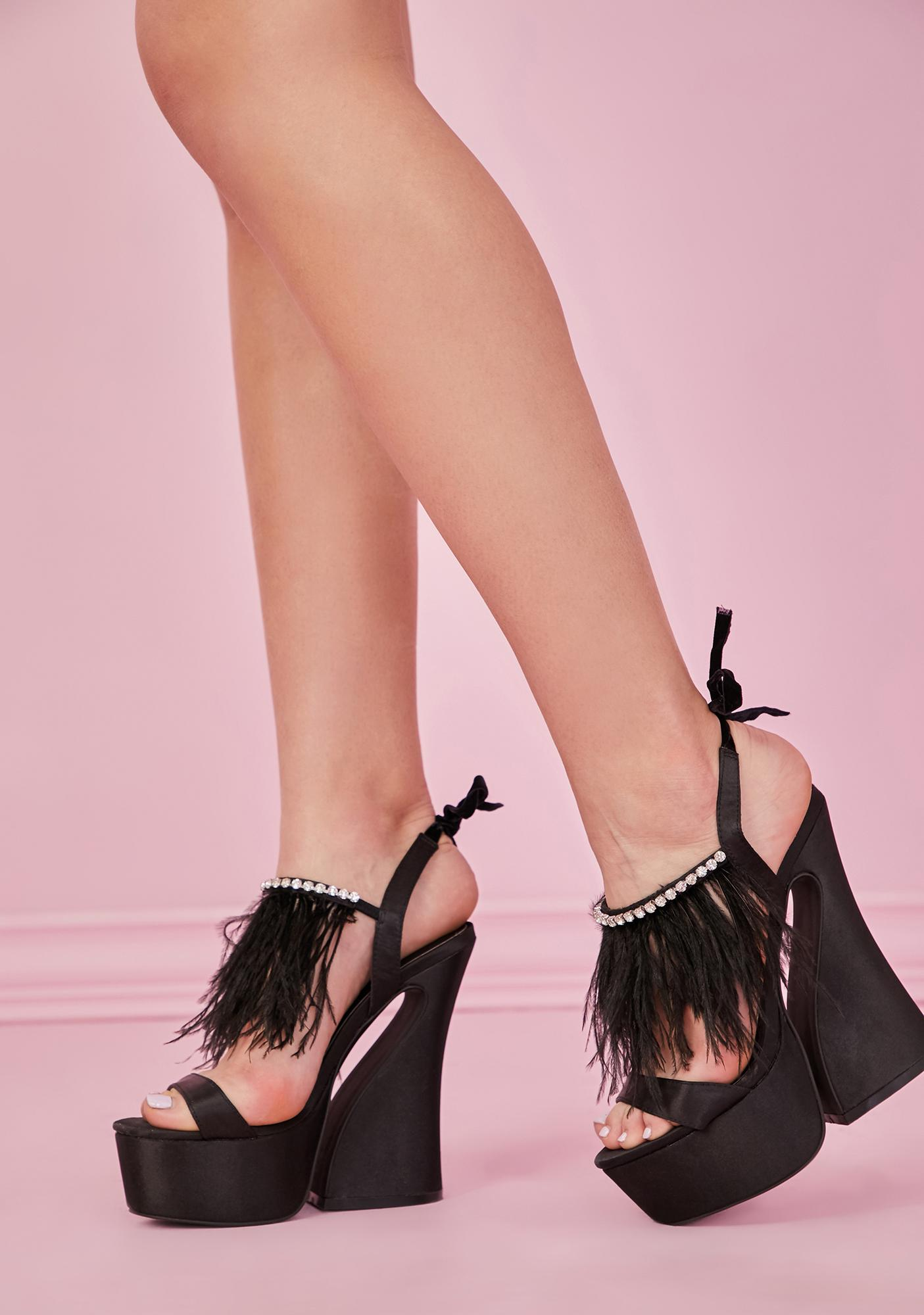 Sugar Thrillz Noir Turn Up The Glam Feather Heels