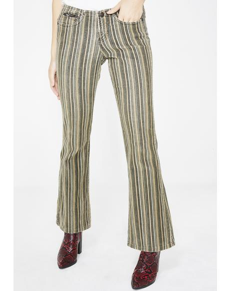 Vintage 00s Low Rise Stripe Corduroy Pants