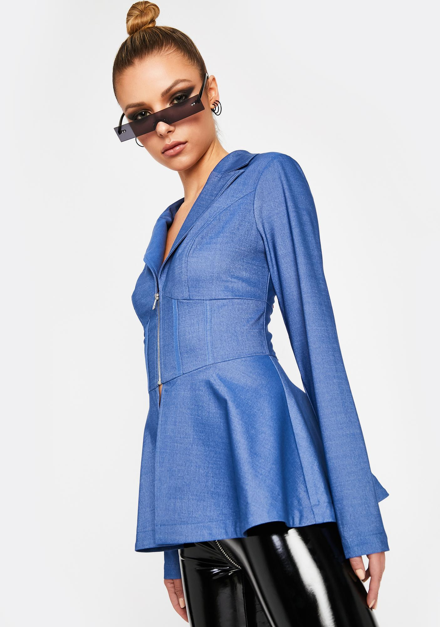 Indigo Lay On The Charm Peplum Blazer