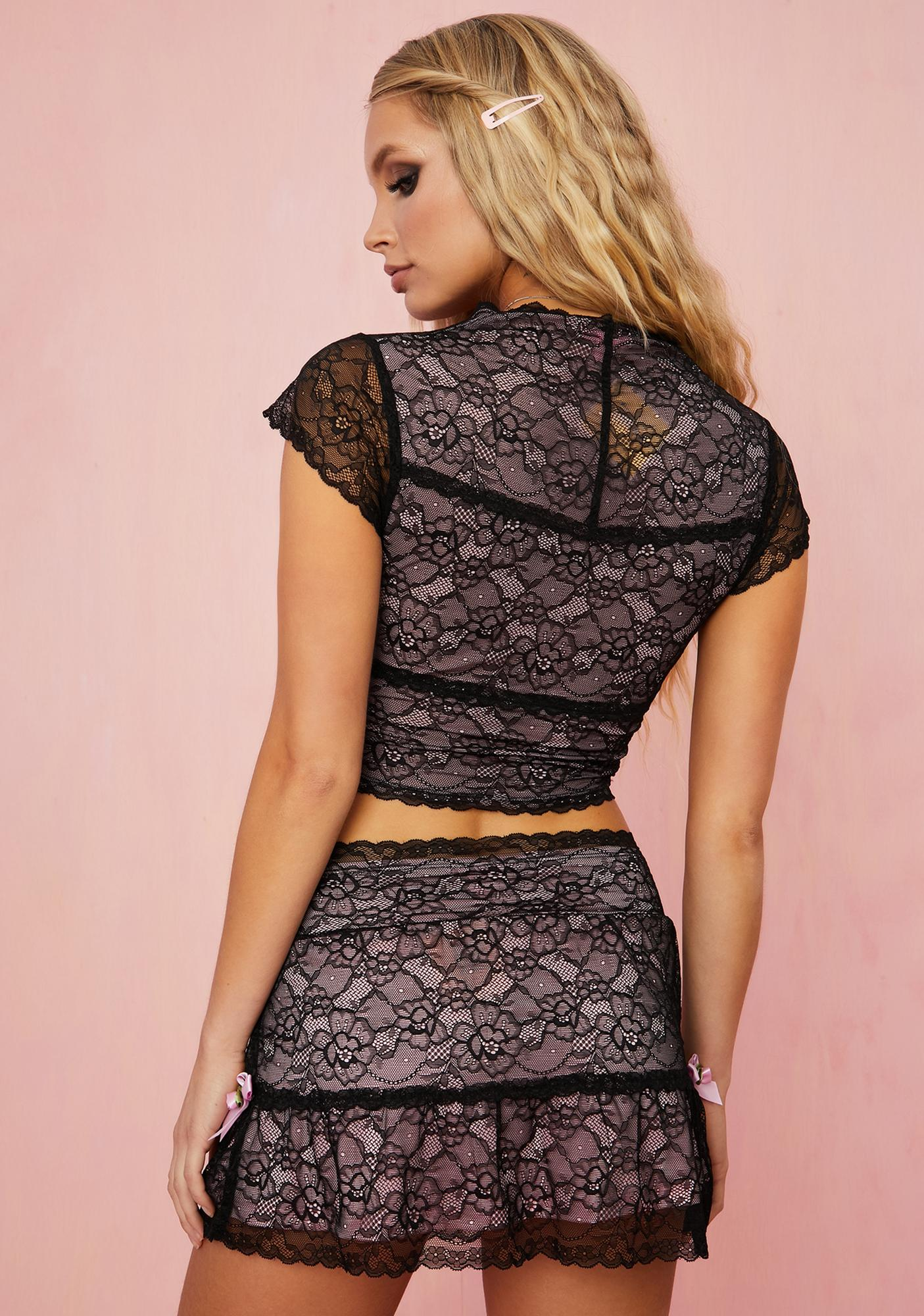 Sugar Thrillz Portrait Mode Lace Mini Skirt