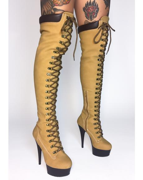 Earnin' It Knee High Stiletto Boots
