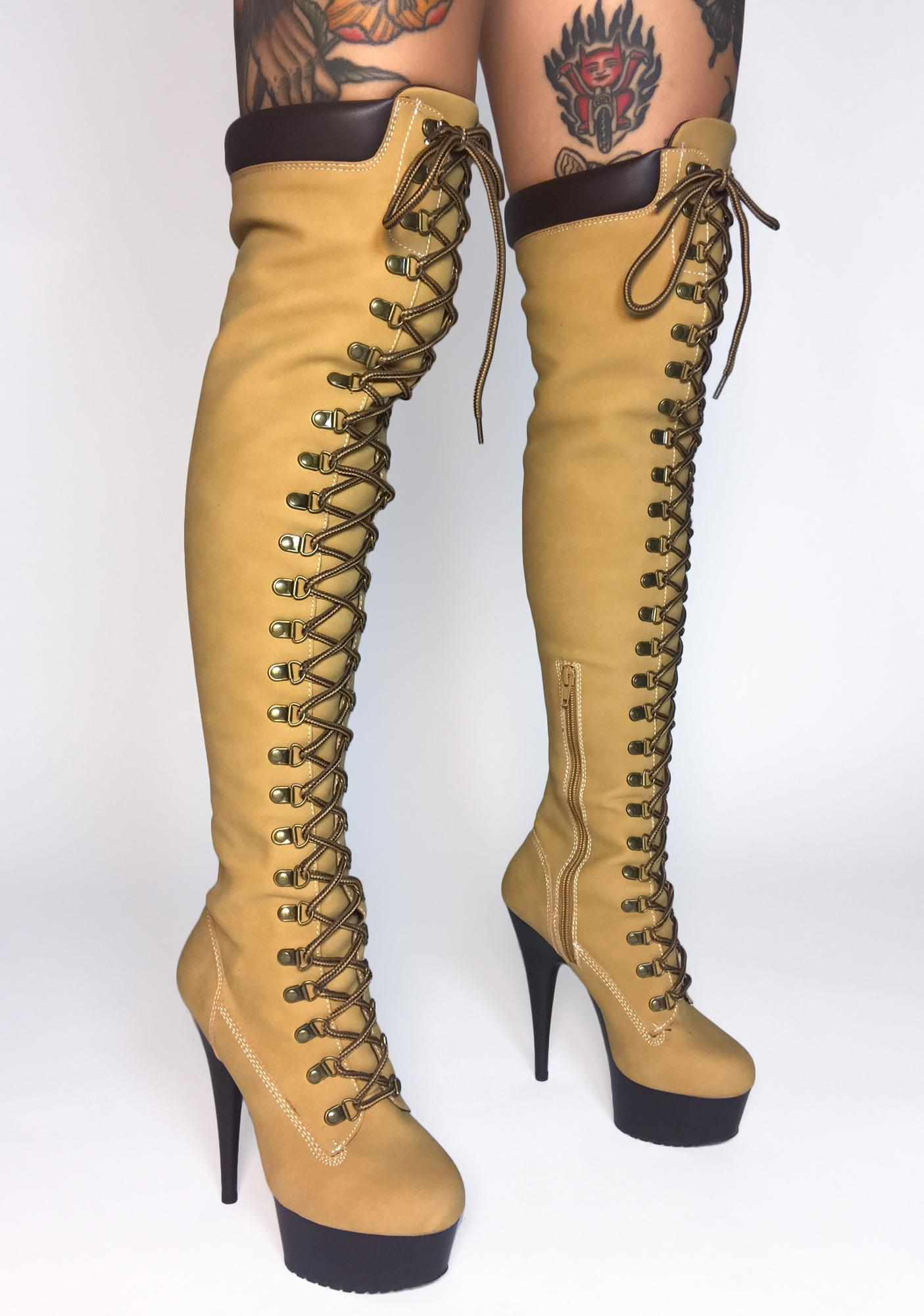 Pleaser Earnin' It Knee High Stiletto Boots