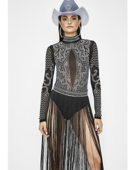 Spinnin' Opulence Fringe Bodysuit