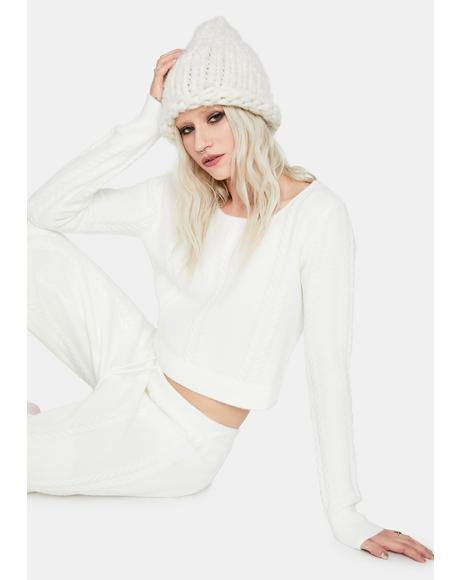 Frostbite Me Crop Knit Sweater