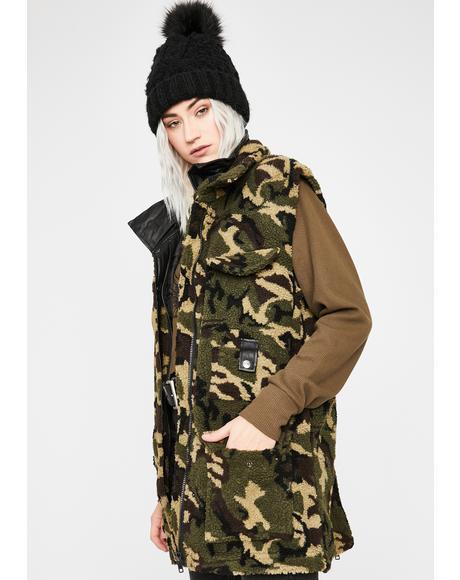 Camouflaged Cutie Sherpa Vest