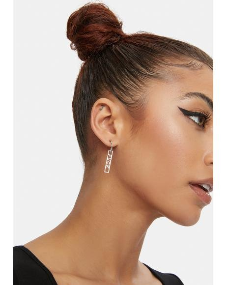 Chrome Real Talk Only Hoop Earrings