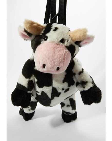 Cow Chic Fuzzy Backpack