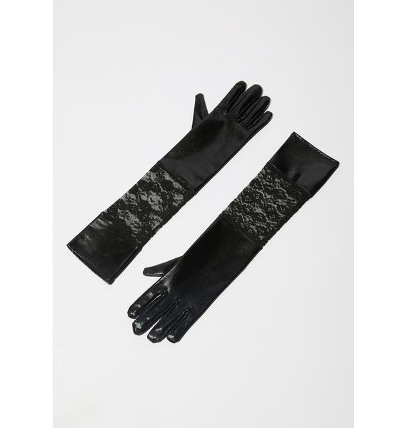 Changeling Child Satin Lace Gloves
