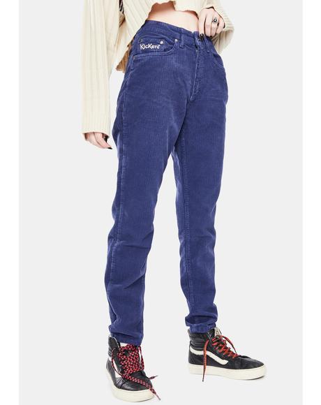 Navy Corduroy Slim Leg Trouser