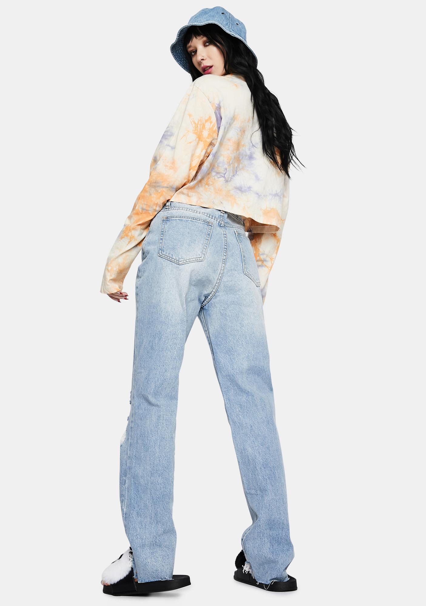 Momokrom Distressed Light Wash Straight Leg Jeans