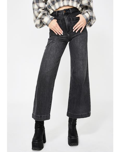 Comfort Black Sailor Wide Leg Jeans