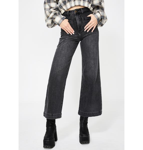 Rollas Comfort Black Sailor Wide Leg Jeans