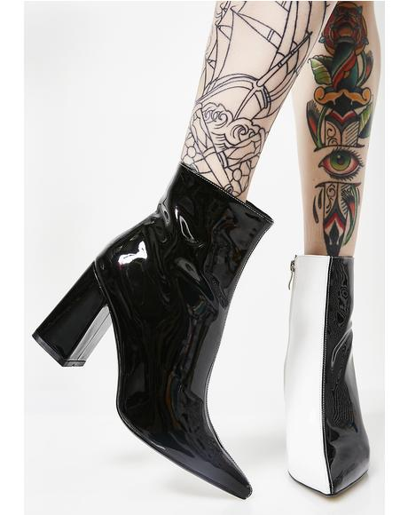 Chaos Two-Tone Patent Ankle Boots
