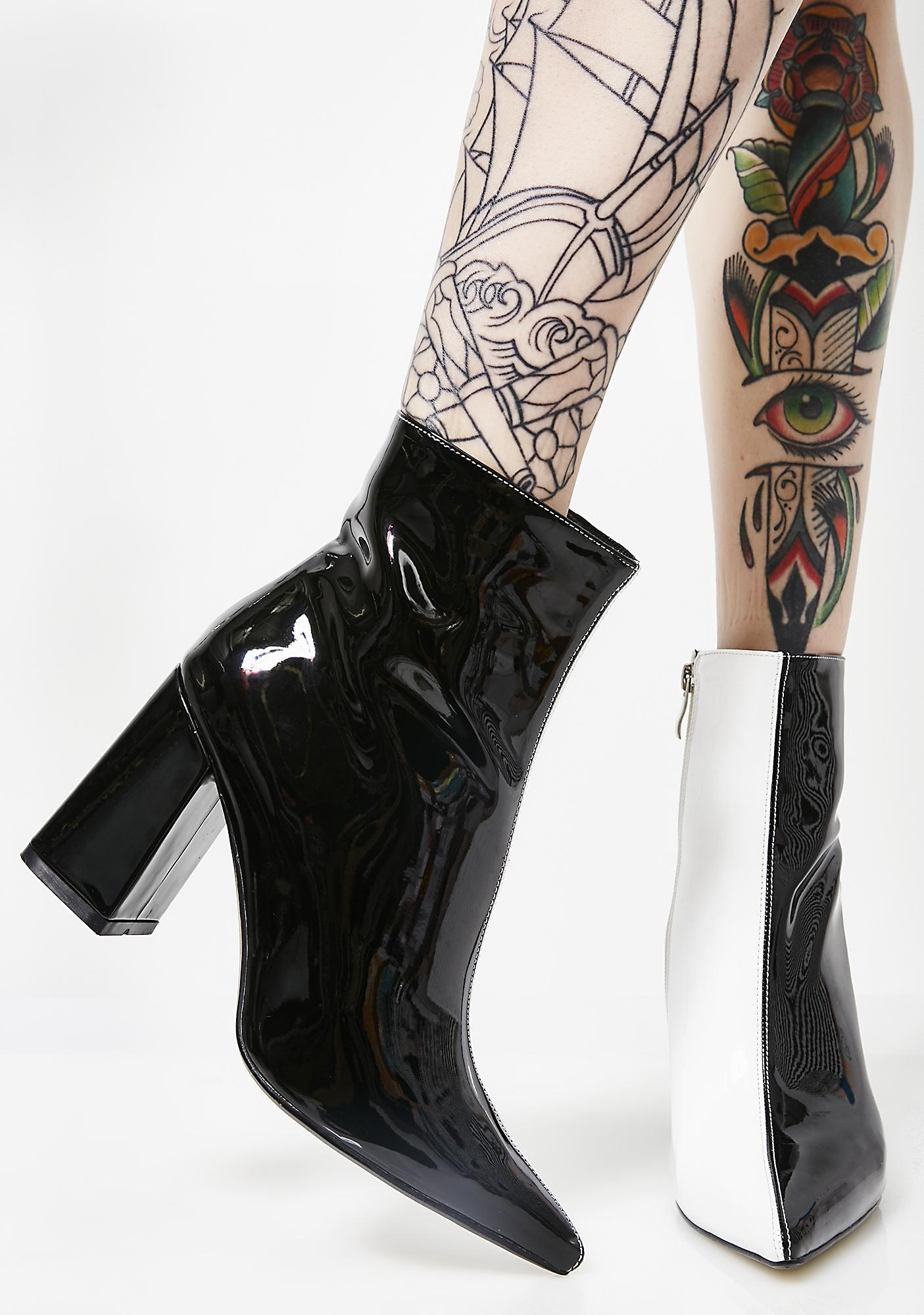 Public Desire Chaos Two-Tone Patent Ankle Boots