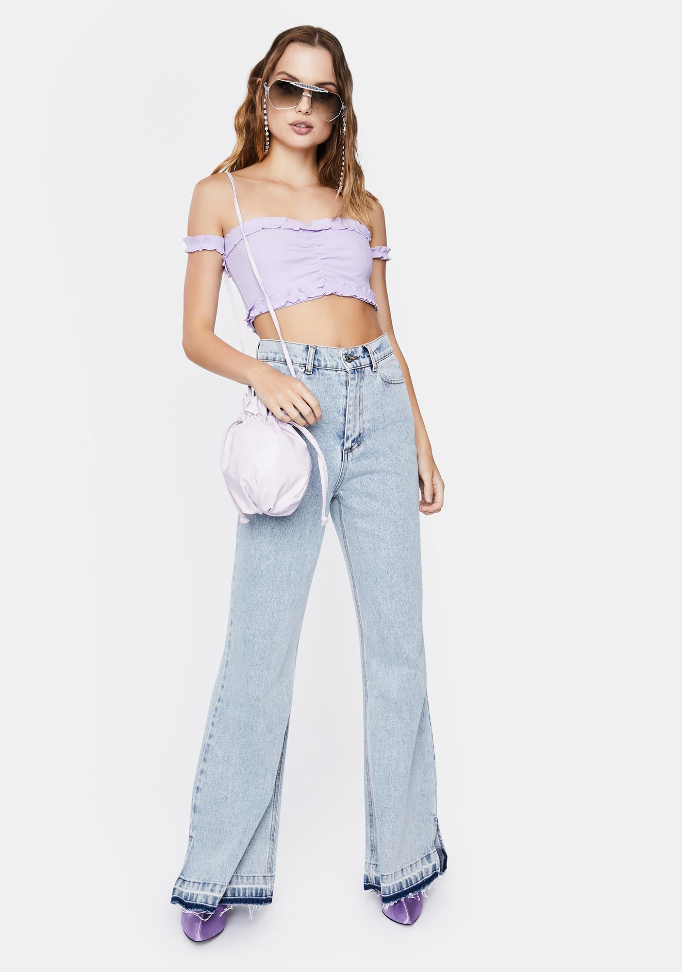 ZEMETA Lilac Off the Shoulder Top