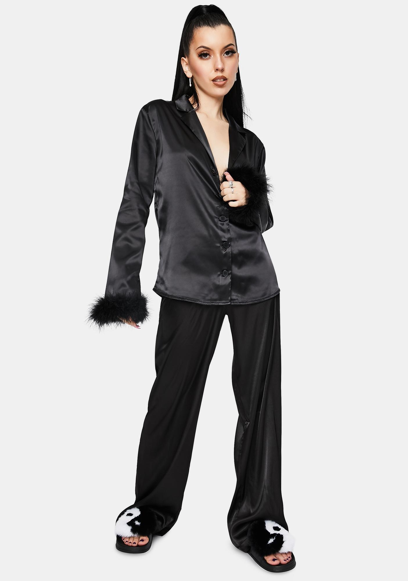 OW INTIMATES Black Sky Feather Pajamas Shirt