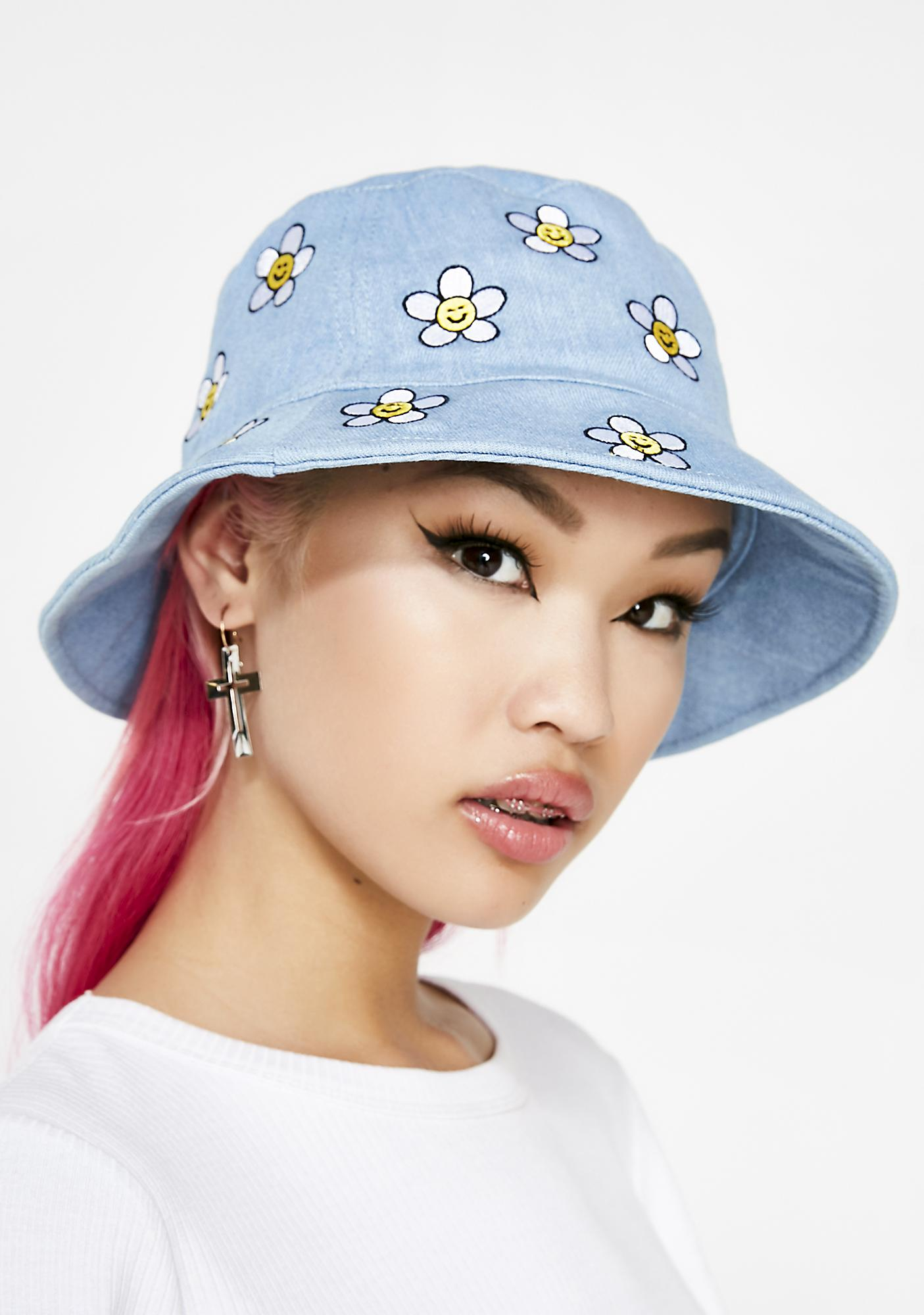 Lazy Oaf Denim Daisy Bucket Hat