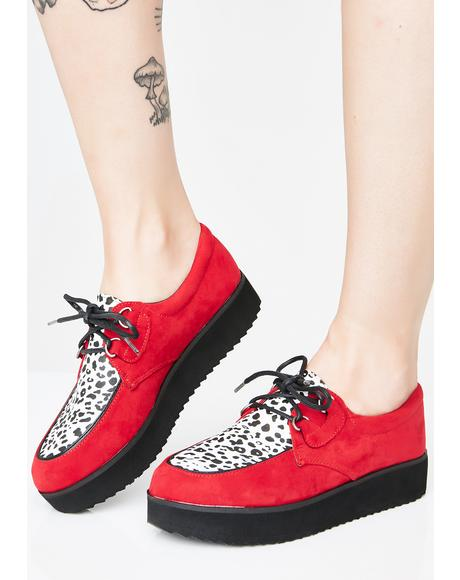Cherry Rockabilly High Vegan Leather Creepers