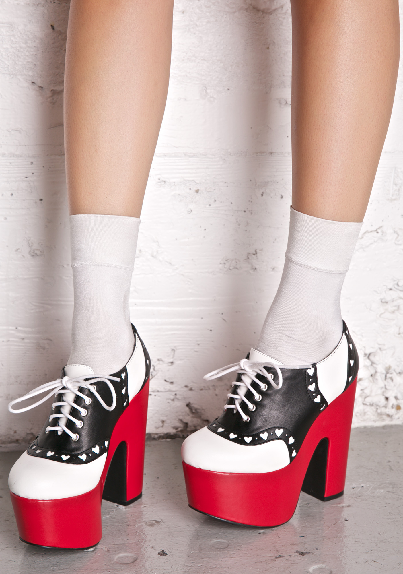 Red Black White Kawaii Oxford Platform Heels