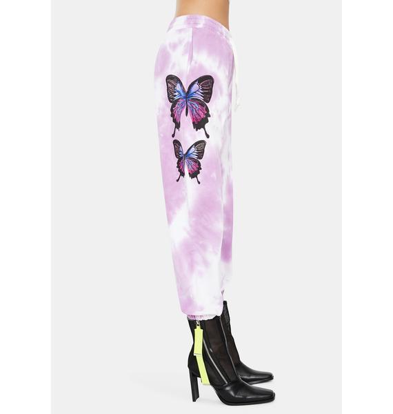 THE KRIPT Purple Holly Butterfly Sweatpants