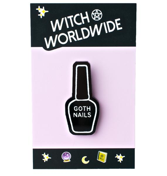 Witch Worldwide Goth Nails Pin