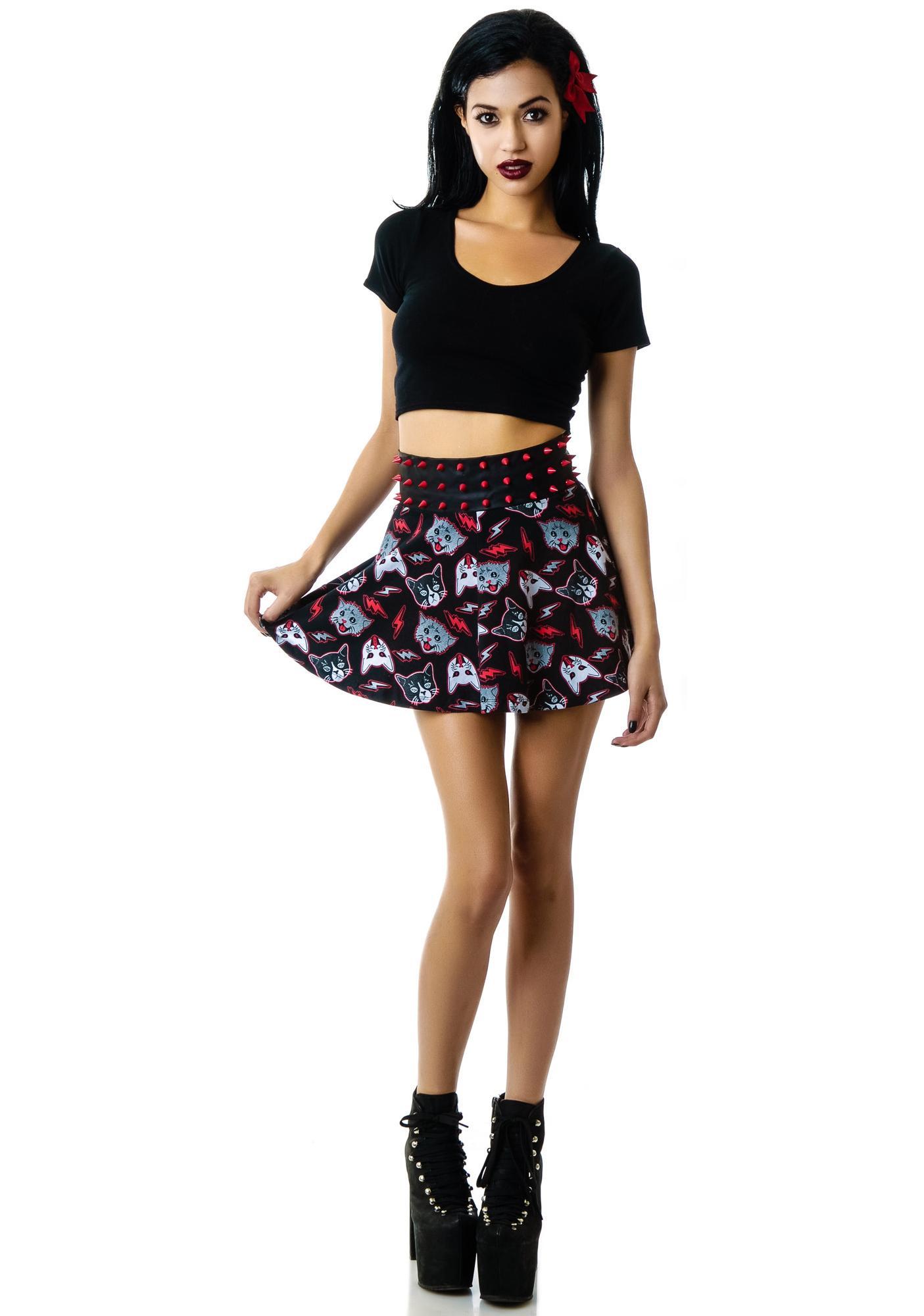 Too Fast Kitty Rocks Midge Mini Skirt