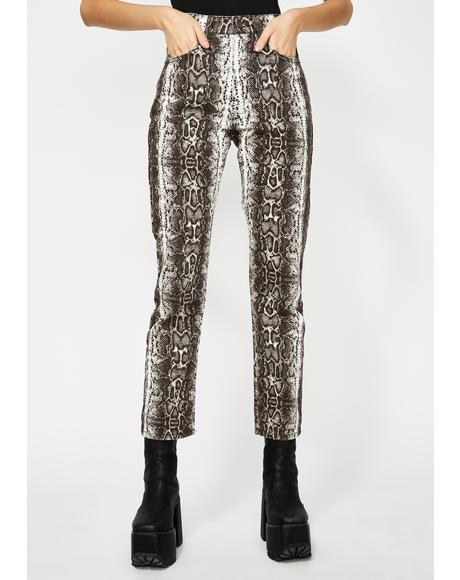 Dark Snake Print Jeans