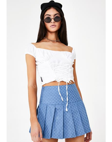 Pom Pom Pleated Skirt