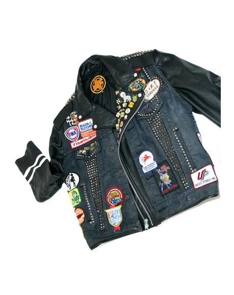 Vintage Deadstock Denim 'N Leather Jacket