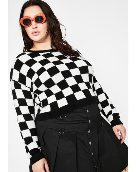 My Time To Ride Checkered Sweater