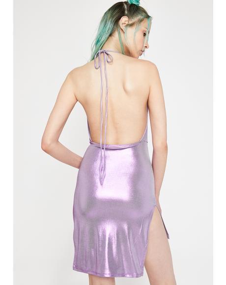 Lilac Mermaid Metallic Dress